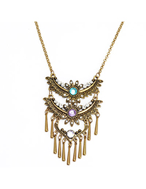 ethnic Bronze Diamond Decorated Leaf Shape Tassel Design Alloy Bib Necklaces