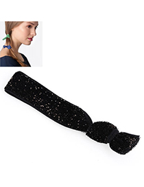 Shiny Black Pure Color Tie Simple Design Rubber Band Hair Band Hair Hoop