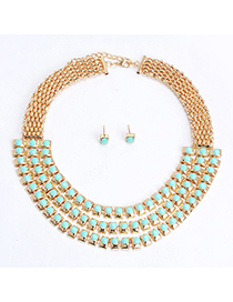 Glamour Green Gemstone Decorated Multilayer Design Alloy Jewelry Sets