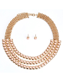Glamour Pink Gemstone Decorated Multilayer Design Alloy Jewelry Sets
