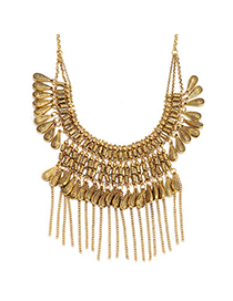 Retro Gold Color Waterdrop Shape Decorated Multilayer Design Alloy Fashion Necklaces