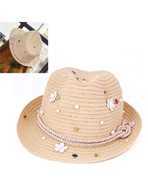 Upscale Khaki Beads Decorated Flower Design Paper String Sun Hats