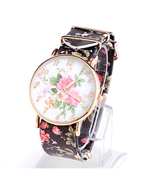 Fresh Black Rose Pattern Simple Design Alloy Ladies Watches