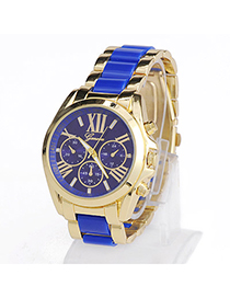 High-quality Blue Roman Numerals Pattern Simple Design Alloy Men's Watches