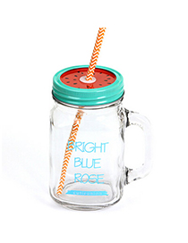 Functional Blue 550ml Letter Pattern Transparent Glass Design With A Straw Glass Household goods