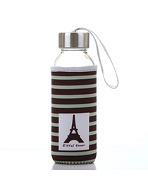 Portable Brown 430ml Cartoon Pattern Cloth Case Bottle Design Glass Household Goods