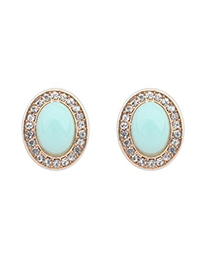 Shopping Light Green Oval Shape Gemstone With Diamond Design Alloy Stud Earrings