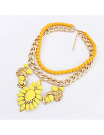 Amethyst Yellow Gemstone Flower Decorated Double Layer Design Alloy Fashion Necklaces
