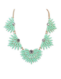 Misses Light Green Candy Color Leaves Temperament Design Alloy Korean Necklaces