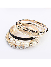 Ethnic Black Diamond Pearl Decorated Multilayer Design Alloy Fashion Bangles