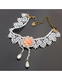 Monogram white flower decorated lace design alloy Fashion Anklets