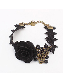 Healing black flower decorated lace design alloy Fashion Anklets
