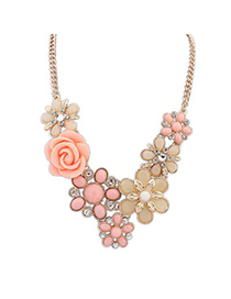 Waxing pink rose flower decorated design alloy Bib Necklaces
