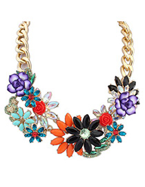 Named multicolor gemstone decorated flower design alloy Bib Necklaces
