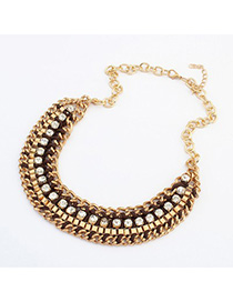 Classic brown CZ diamond decorated weave design alloy Korean Necklaces