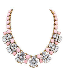 Lush pink CZ diamond decorated bee shape design alloy Fashion Necklaces