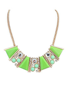 Masculine green gemstone decorated Trapezoidal design alloy Korean Necklaces