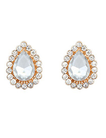 Light white CZ diamond decorated waterdrop design alloy Korean Earrings