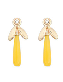 Locket yellow CZ diamond decorated dragonfly shape design alloy Korean Earrings