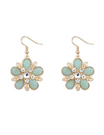 Convertibl light blue gemstone decorated flower design alloy Korean Earrings
