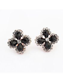 Masonic black diamond decorated clover shape design alloy Stud Earrings