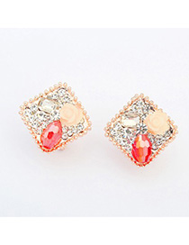 Hippie red flower decorated square shape design alloy Stud Earrings