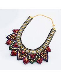 Magnifying multicolor beads decorated multi-level design alloy Fashion Necklaces