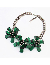 18K green flower decorated simple design resin Fashion Necklaces