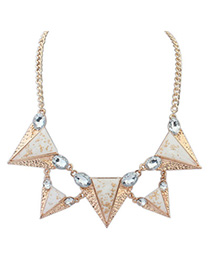 Lucky white gemstone decorated triangle shape design alloy Korean Necklaces