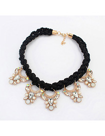Lightest black diamond decorated butterfly shape design alloy Bib Necklaces