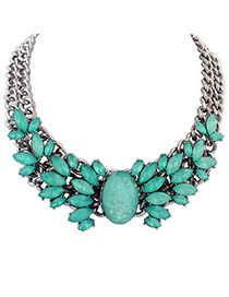 Rosary Green Gemstone Decorated Double Layer Design Alloy Fashion Necklaces