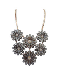 Active Gray Flower Decorated Simple Design Alloy Bib Necklaces