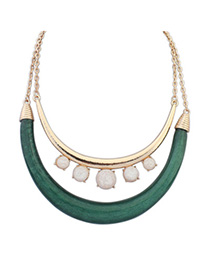 Portable White & Green Gemstone Decorated Double Layer Design Alloy Korean Necklaces