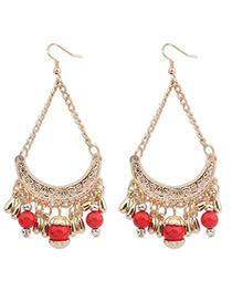 Circle Red Tassel Decorated Curve Shape Design Alloy Korean Earrings