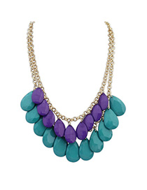 Roller Purple & Green Waterdrop Shape Decorated Simple Design Alloy Korean Necklaces