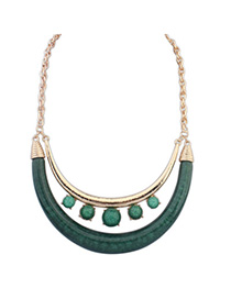 Rebel Green Gemstone Decorated Crescent Shape Design Alloy Bib Necklaces