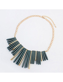 Connor Dark Green Rectangular Shape Decorated Simple Design Alloy Bib Necklaces