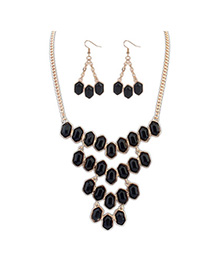 Velvet Black Gemstone Decorated Geometrical Shape Design Alloy Jewelry Sets