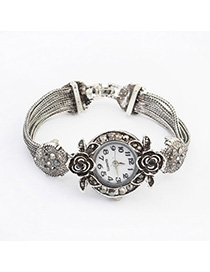 Beige Silver Color Diamond Decorated Rose Design Alloy Ladies Watches
