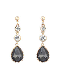 Juniors Black Diamond Decorated Waterdrop Shape Design Alloy Korean Earrings