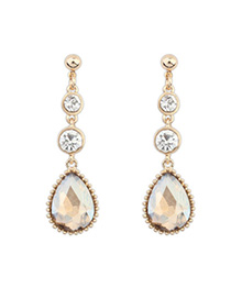 Uniqe Gold Color Diamond Decorated Waterdrop Shape Design Alloy Korean Earrings