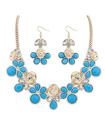 Baltic Blue Rose Shape Decorated Simple Design Alloy Jewelry Sets