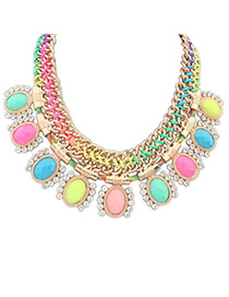 Hardy Multicolor Gemstone Decorated Weave Design Alloy Fashion Necklaces