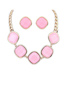 Womens Pink Geometrical Shape Decorated Simple Design Alloy Jewelry Sets