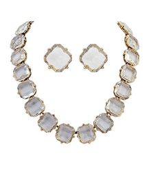 Athena White Transparent Square Shape Decorated Simple Design Alloy Jewelry Sets