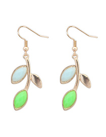 Classical Green & Light Blue Leaf Shape Decorated Simple Design Alloy Korean Earrings