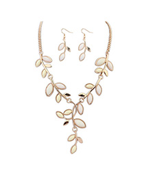 Propper Beige Leaf Shape Decorated Simple Design Alloy Jewelry Sets
