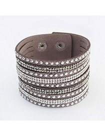 High Quali Gray Diamond Decorated Multilayer Design Alloy Korean Fashion Bracelet