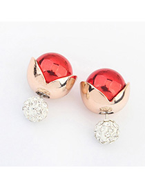 Lace Red Diamond Decorated Simple Design Alloy Stud Earrings