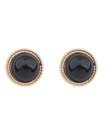 24k Black Candy Color Round Shape Simple Design Alloy Stud Earrings